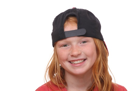 Happy red haired baseball girl on white background