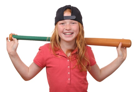 Happy red haired baseball girl on white background photo
