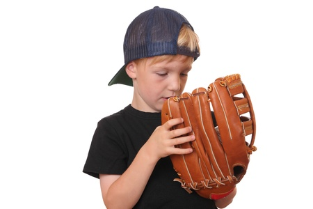 ballplayer: Happy young baseball boy on white background