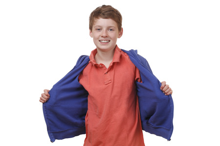 Portrait of a cool young boy on white background photo