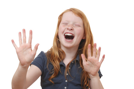 Portrait of a screaming young girl on white background Stock Photo - 27861778