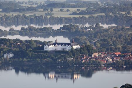 schleswig holstein: Aerial view of Plön palace with lake Plön Editorial