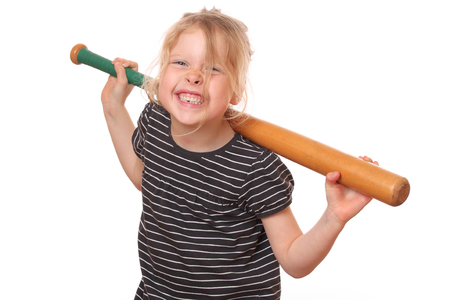 ballplayer: Portrait of a young girl with baseball bat on white background Stock Photo