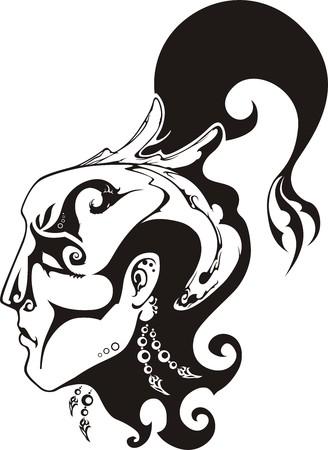 シャーマンの頭は様式化された入れ墨の下で  イラスト・ベクター素材