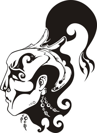 mysticism: The head of the shaman is stylised under a tattoo