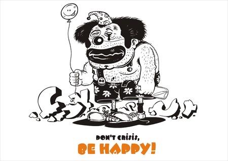 financiele crisis: De trieste clown met een vrolijke bal tegen financiële crisis  Stock Illustratie