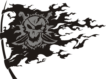 The piracy torn apart flag is trembled on a wind Illustration