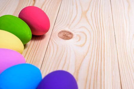 Easter eggs on wooden background flay lay Stock Photo