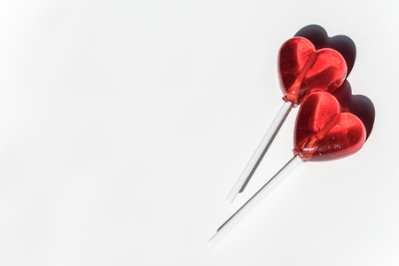 Two Lollipops Red Hearts Candy Love Concept Valentine Day Stock