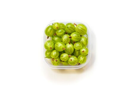 fresh gooseberries from garden, isolated on white background. Stockfoto
