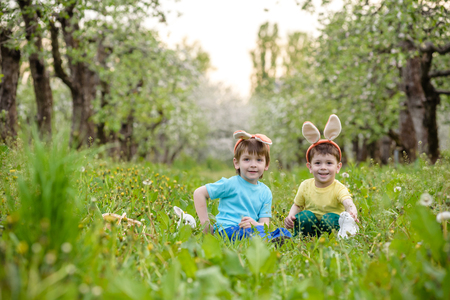 Two little kids boys and friends in Easter bunny ears during traditional egg hunt in spring garden, outdoors. Siblings having fun with finding colorful eggs. Old christian and catholoc tradition. Stock Photo