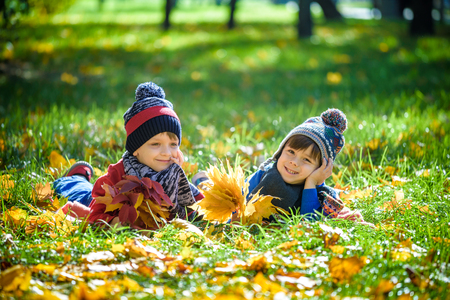 Two beautiful boy brothers, little child laying with a lot of yellow autumn leaves in park. Kid having fun on sunny warm autumn day. Season, children, lifestyle concept