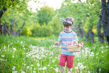 Simpatico ragazzino con orecchie da coniglio che si diverte con la tradizionale caccia alle uova di Pasqua in una calda giornata di sole, all'aperto. Celebrare le vacanze di Pasqua.