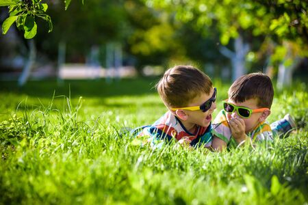 Feliz sonriente hermano hermano niño relajándose en la hierba. Vista cercana con espacio de copia. Niños en edad preescolar con gafas de sol campamento de vacaciones de verano. Concepto de amistad de infancia feliz de relajación.