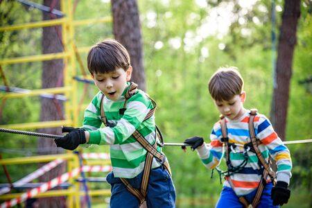 Twin bothers climbing in adventure park is a place which can contain a wide variety of elements, such as rope climbing exercises, obstacle courses and zip-lines.