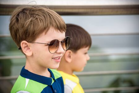 Close Up Face with Smiling Kid Portrait, Happy Boy in Sunglases Enjoying Summer Holidays Closeup, Summer Outdoors, Funny Kid Wearing Sunglasses, Summer Fun, Summertime, Summer Fun Kids.
