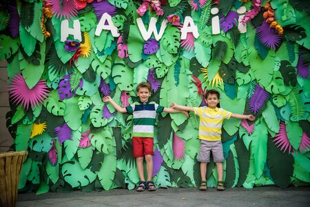 Two brother boys sibling kids pose on artificial jungle leaves with plate HAWAI. Dresses in colorful clothes shorts and t-shorts. Smiling and happy. Childhood vacation concept.