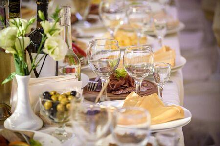 Banquet hall in the restaurant. Concept: Serving. Celebration Anniversary Wedding