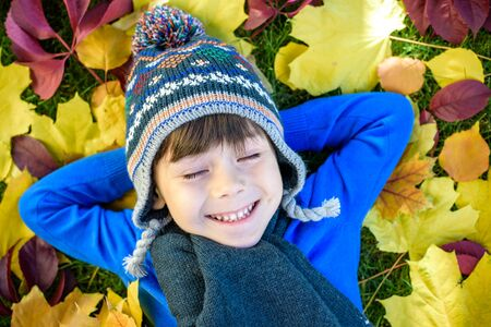 Little kid boy lying in autumn leaves in blue pullover. Happy child having fun in autumn park on warm day. Cute school boy smiling and laughing Stock Photo