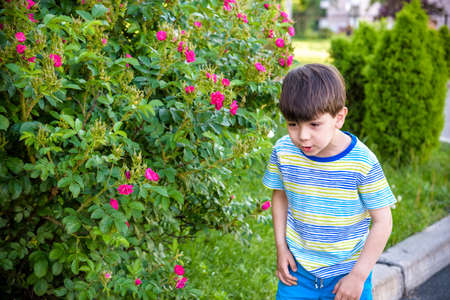 Little boy has allergy to blooming flowers playing outdoor. Healthcare concept.