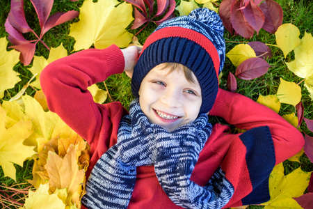 Little kid boy lying in autumn leaves in red pullover. Happy child having fun in autumn park on warm day. Cute school boy smiling and laughing