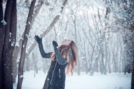 smiled: Smiled and happy girl with snow