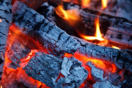 orange inferno: fire fireplace Stock Photo