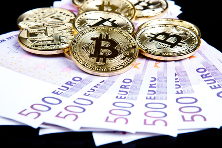 bitcoin coins with euros