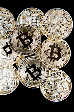 bitcoin coins group isolated Stock Photo