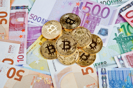 bitcoin coins with euros