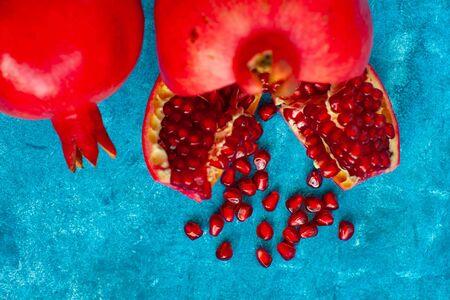 Garnet grains on blue background