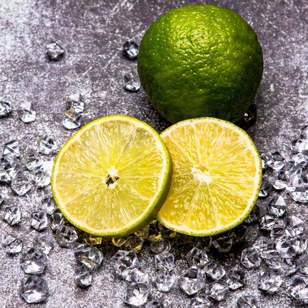 fresh lime slices on the ice