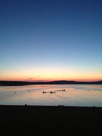 the wonderful sunset at the lake