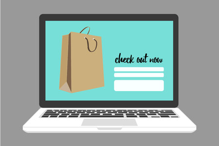 check out: shopping online on check out now page with shopping bag, on grey background Illustration