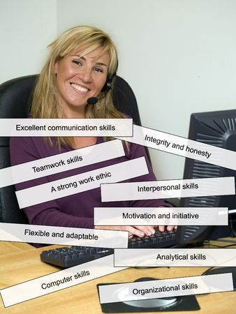 adaptable: Customer service with all the top 10 qualities that employers look for Stock Photo