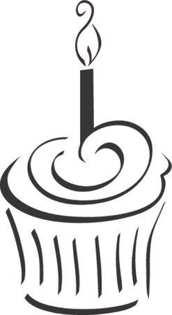 candle flame: Whimsical birthday cupcake
