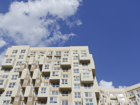 gangnam: wonderful Abstract city buildings with cloud blue sky background in gang-nam, seoul, korea