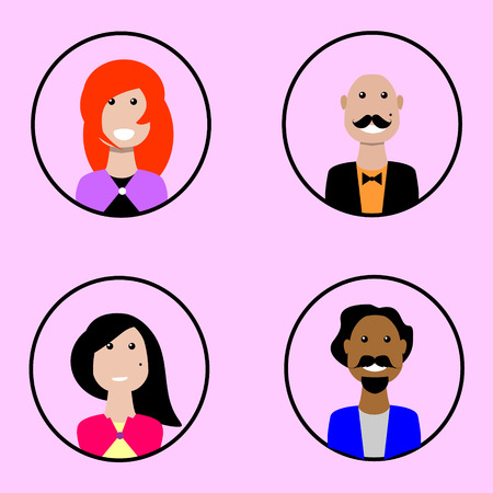 trendy male: Colorful Male Faces Circle Icons Set in Trendy Flat Style