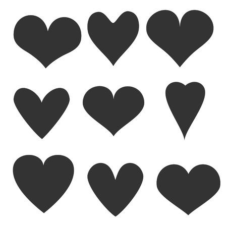 corazon en la mano: Dibujado a mano corazones fijaron
