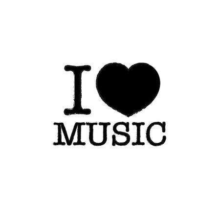 love music: i love music, font type with signs, stickers and tags