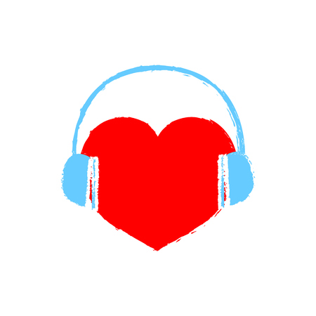 Vector trendy flat style music store . Headphones and heart . Illustration