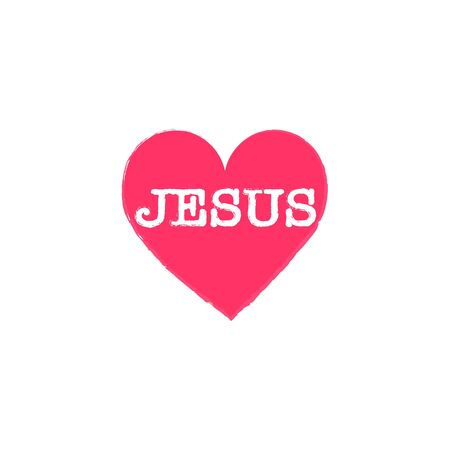 spiritually: i love Jesus, font type with signs, stickers and tags Illustration