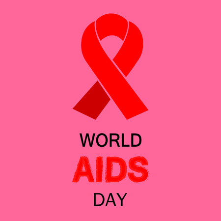 sexual intercourse: World Aids Day with text and red ribbon of aids awareness.