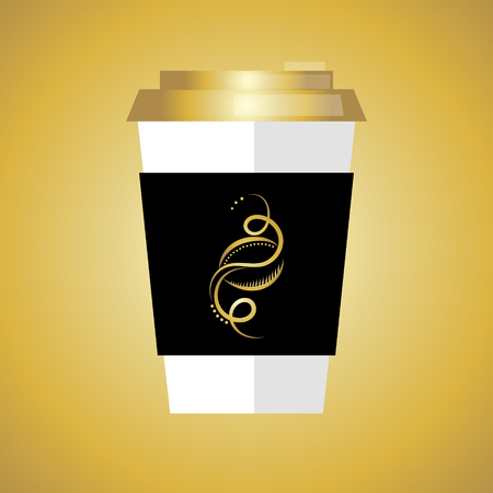 coffee beans: Disposable coffee cup icon with coffee beans logo, Vector illustration flat design with long shadow.