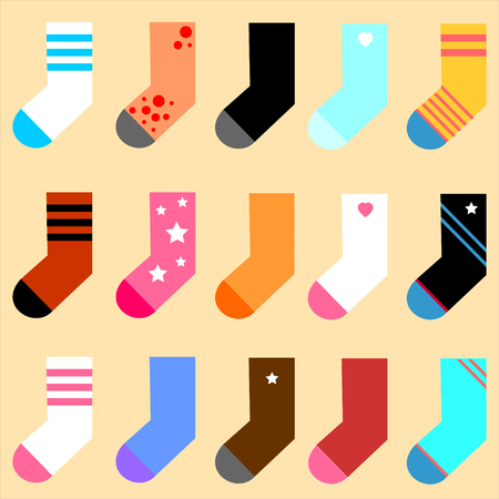 Vector set color icon socks on yellow background
