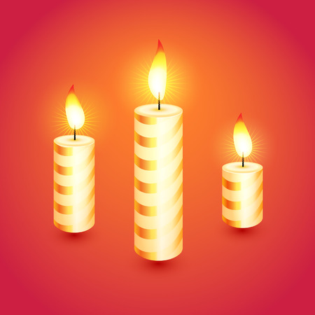 Set of candles  Vector illustration   Vector