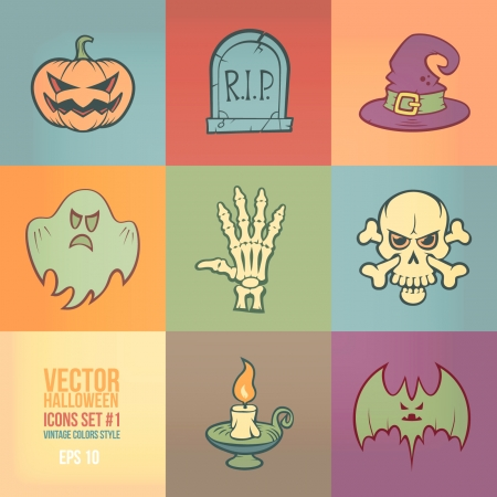 Halloween Vector Icons Set  Vintage Colors Style  Vector