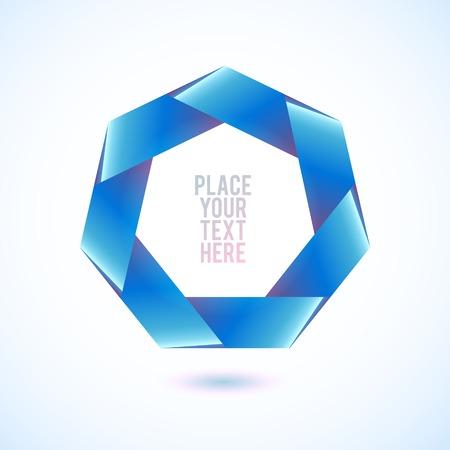 heptagon: Blue heptagon shape on white background. Geometric Illustration.