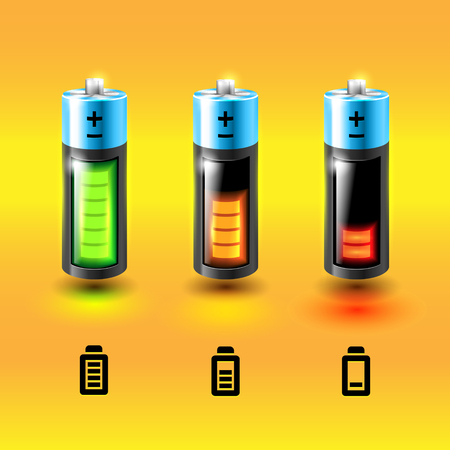 rechargeable: Set of vector glossy batteries. Charge conditions Icons.
