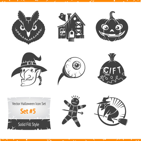 Voodoo doll: Halloween Vector Icons Set Filled Silhouette Illustration